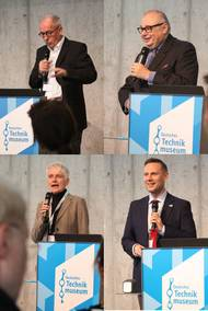 Collage of speakers, showing Prof. Joseph Hoppe, Prof. Dr. Meinrad Maria Grewenig, Dr. Anna Hochreuter, and Dr. Adam Hajduga (from upper left)